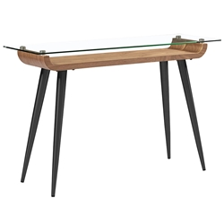 Esquire Black Steel + Walnut Wood + Clear Tempered Glass Modern Console Table