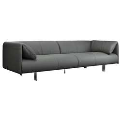 Essex Genuine Leather Modern Sofa in Warm Gray by Modloft Black