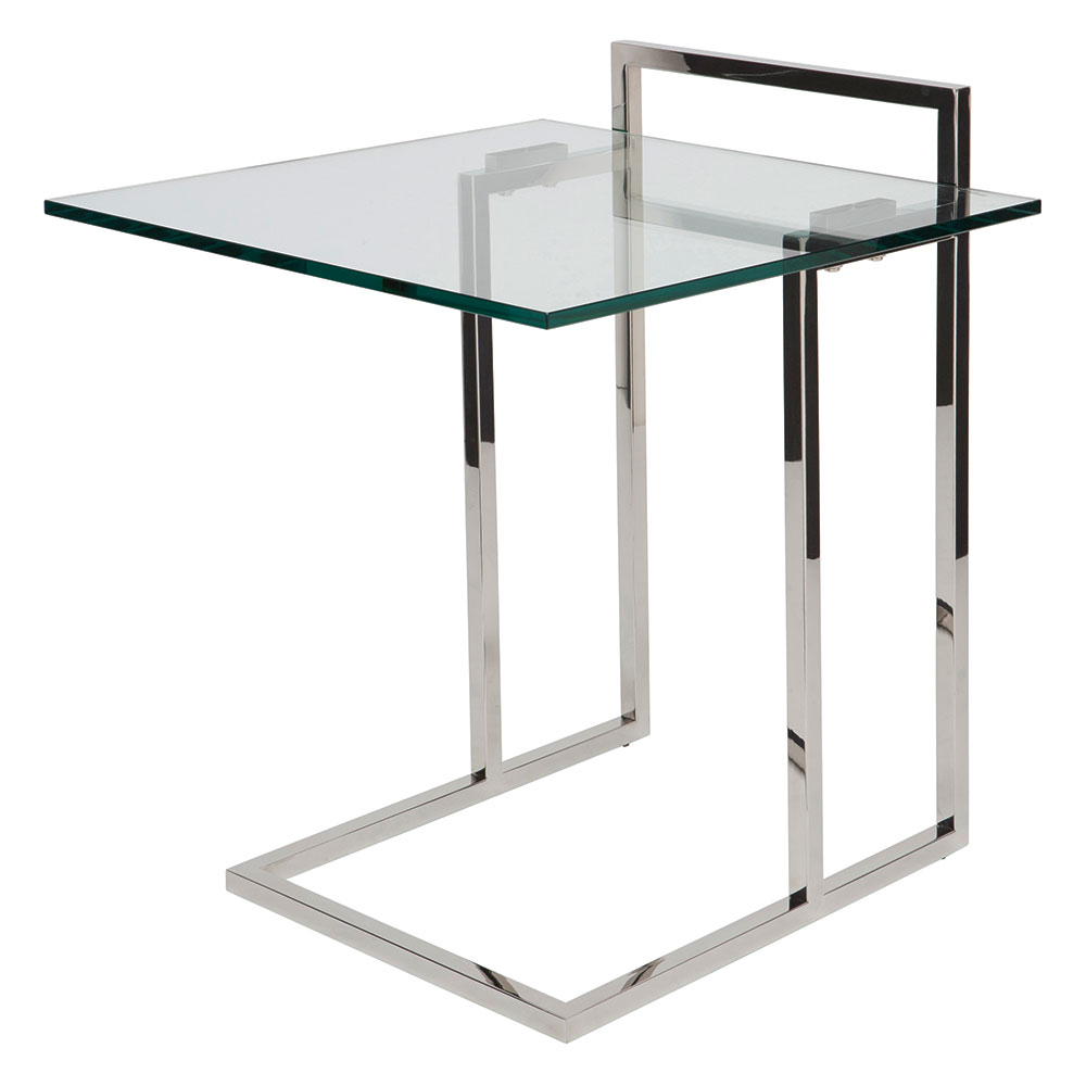 Eustace Polished Steel + Clear Glass Square Modern End Table