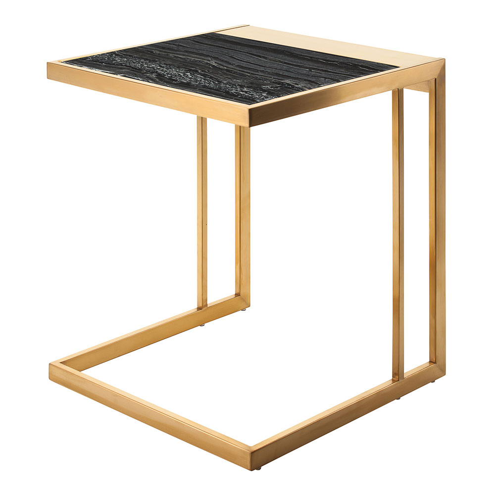 Everman Gold Steel + Black Marble Square Modern End Table