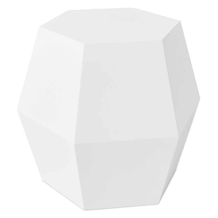 Gus* Modern Facet-14 White Geometric End Table + Stool