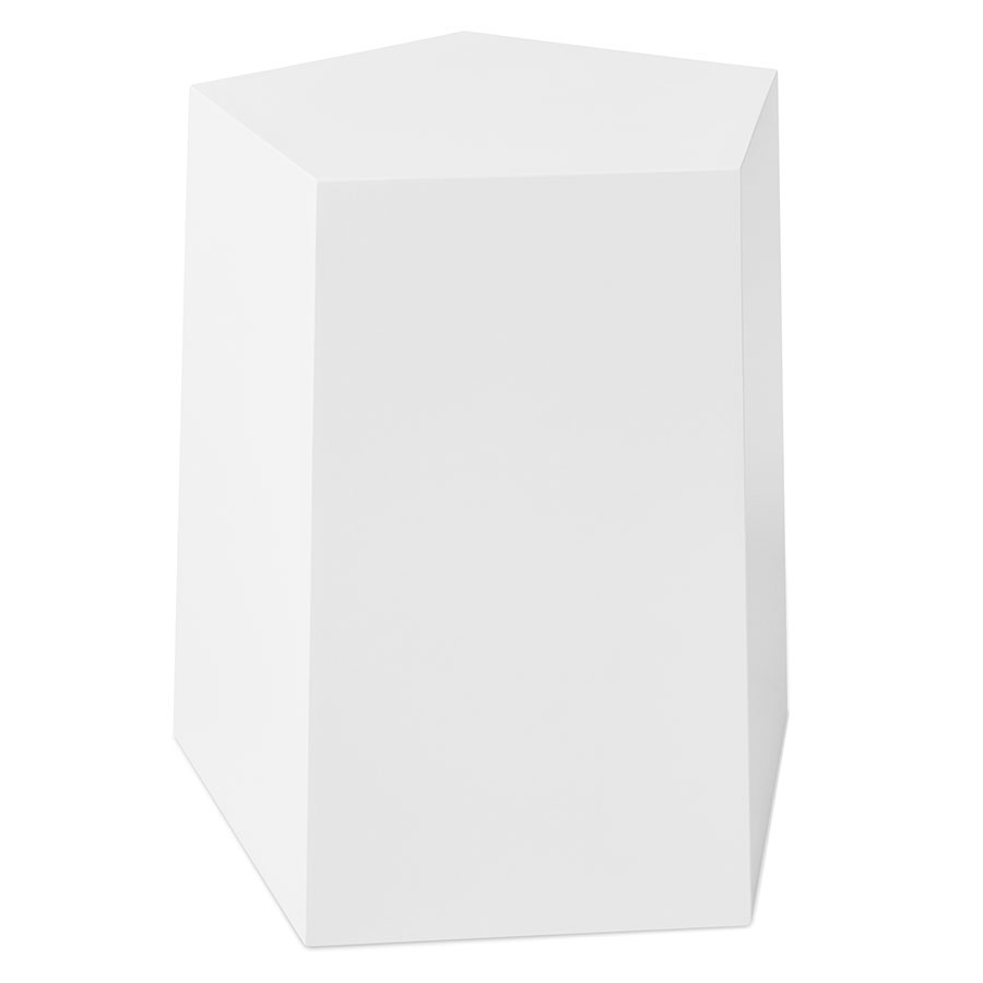 Gus* Modern Facet-7 White Geometric End Table + Stool