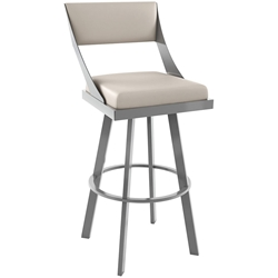 Fame Bar Stool Shown in Magnetite and Oyster