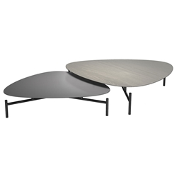 Finsbury Acier Wood + Gray Wood + Polished Onyx Meta Modern Nesting Coffee Tables by Modloft Black