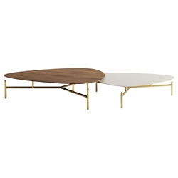 Finsbury Walnut + Almond + Brass Modern Nesting Coffee Tables by Modloft Black