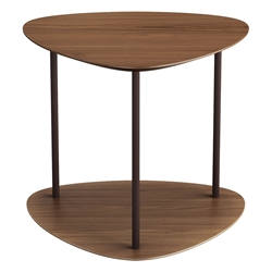 Finsbury Walnut Wood + Java Steel Modern Side Table by Modloft Black