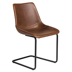 Flacco Brown Faux Leather + Black Powder Coated Steel Modern Dining Side Chair