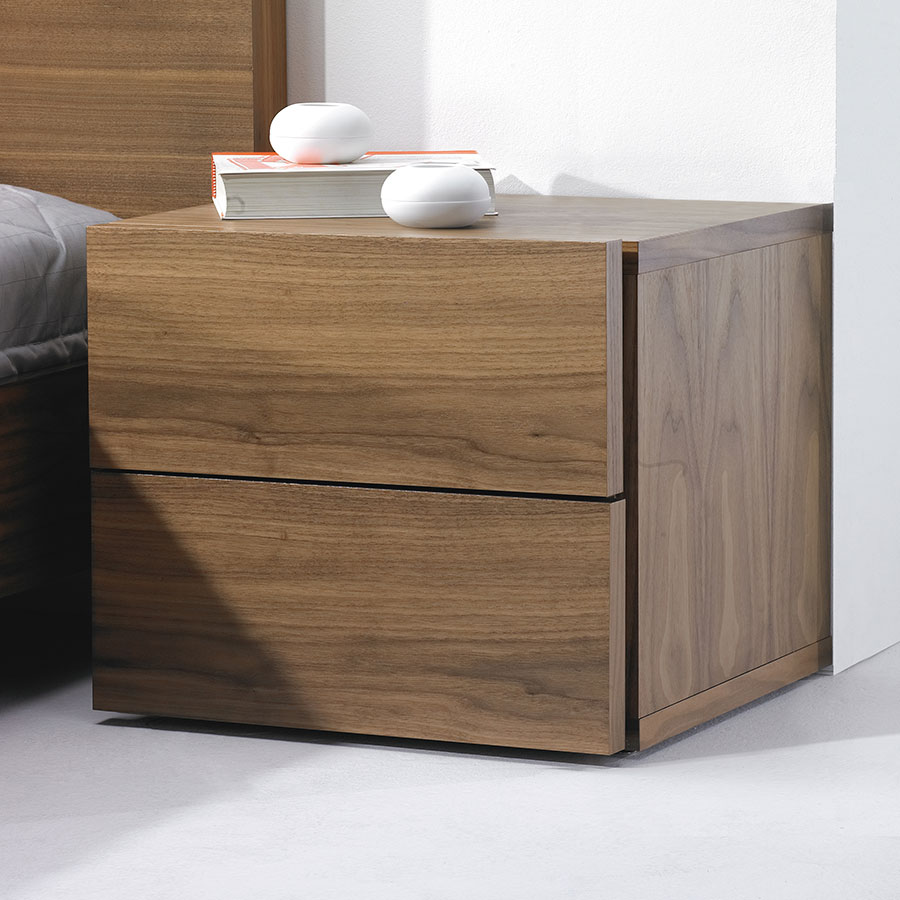 float walnut nightstand by temahome  eurway -  float walnut contemporary nightstand dressed