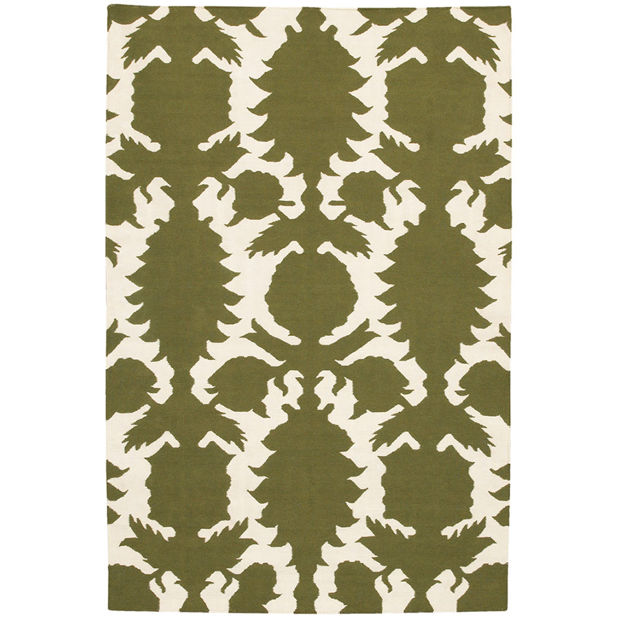 Flock 3'x5' Rug in Green and Cream