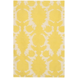 Flock 3'x5' Rug in Yellow and Cream
