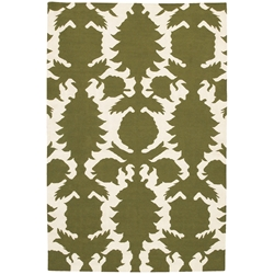 Flock 5x8 Rug in Green and Cream