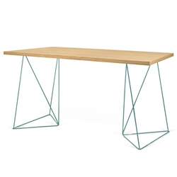 Flow Oak Top + Green Metal Base Modern Desk