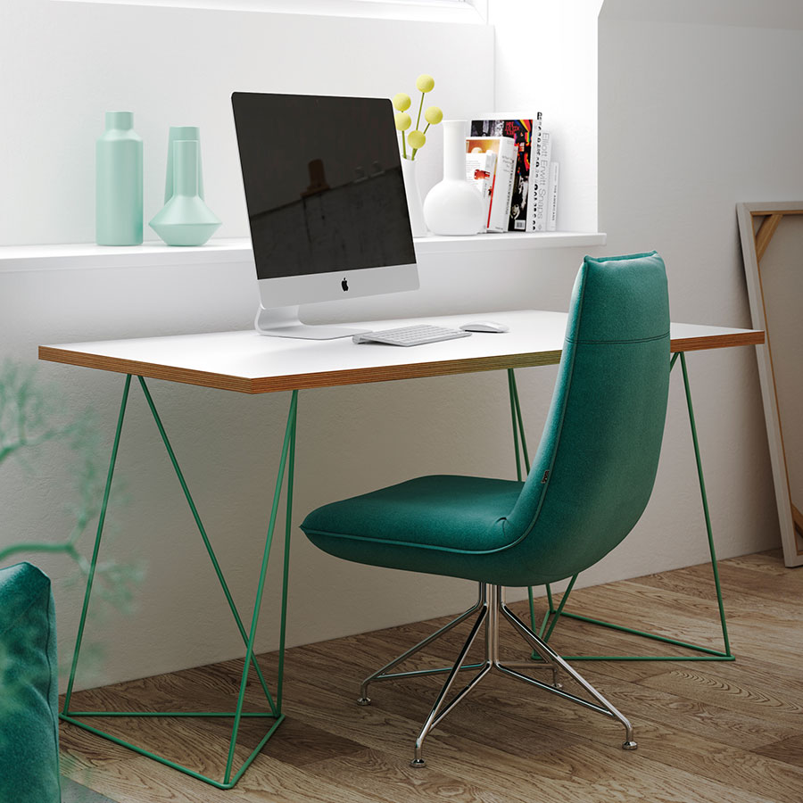Flow White Top Green Metal Base Contemporary Office Desk