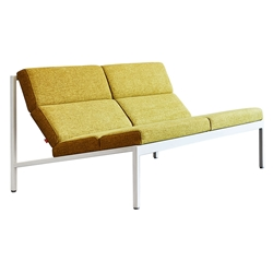 Gus* Modern Fogo LOFT Sofa / Loveseat in White Bench Welded Steel and Bayview Dandelion Green Fabric Upholstery