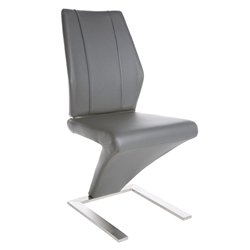 Francine Gray Leatherette + Brushed Stainless Steel Modern Dining Side Chair
