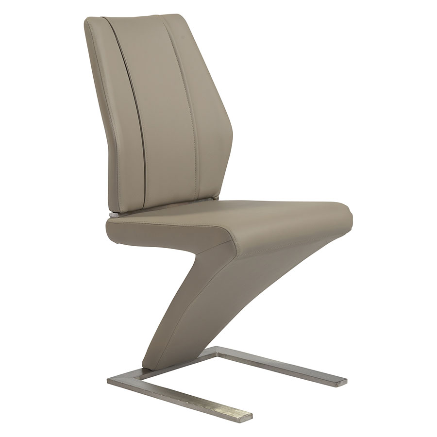 Francine Taupe Leatherette + Brushed Stainless Steel Modern Dining Side Chair
