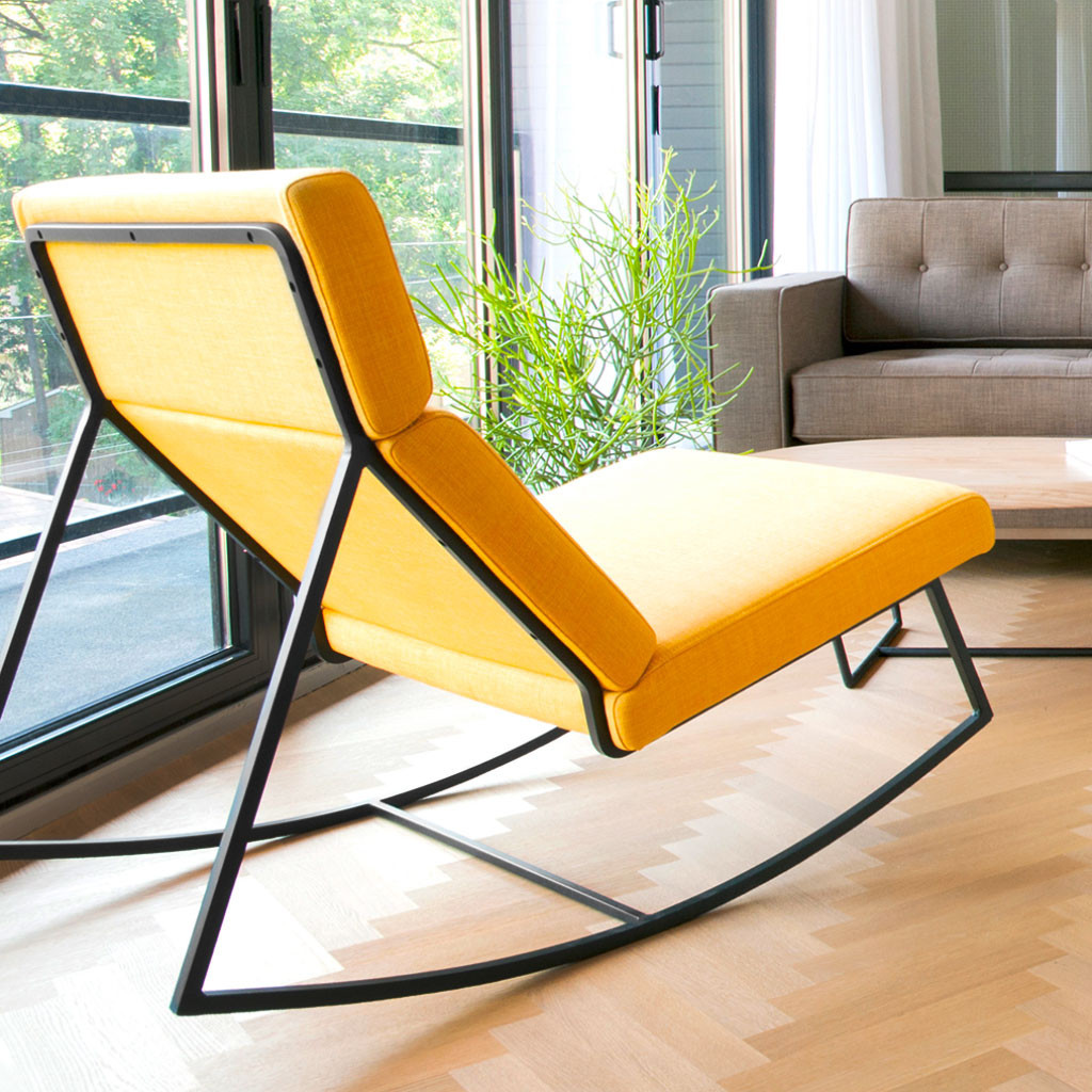 ... GT Rocker Contemporary Lounge Chair In Laurentian Citrine   Back View  ...