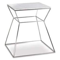 Gakko Modern End Table w/ White Marble Top by sohoConcept