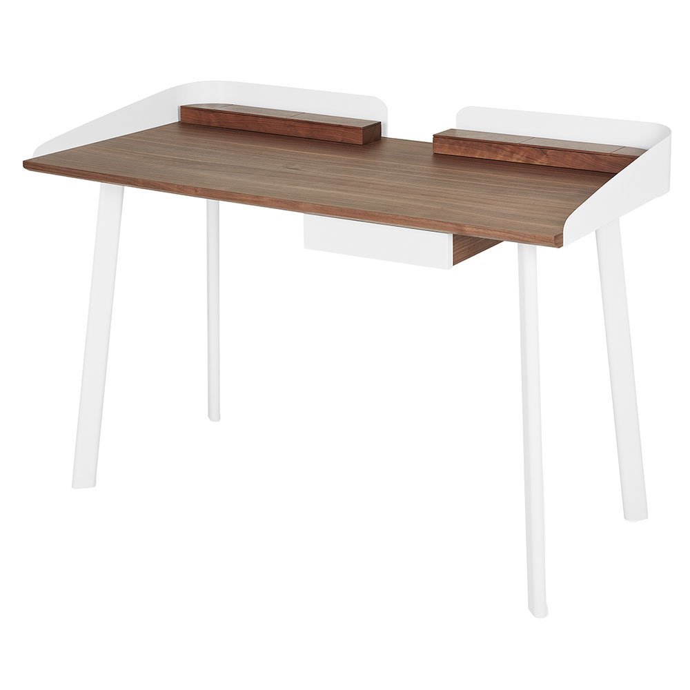 Gus* Modern Gander Desk in Walnut Wood and White Powder Coated Steel
