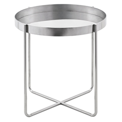 Garrison Polished Steel Round Modern End Table