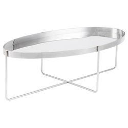 Nuevo Gaultier Oval Modern Coffee Table in Polished Stainless Steel