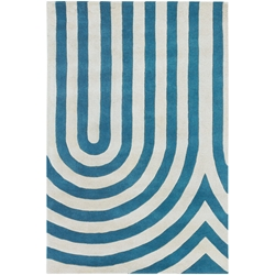 Geometric 3x5 Rug in Blue