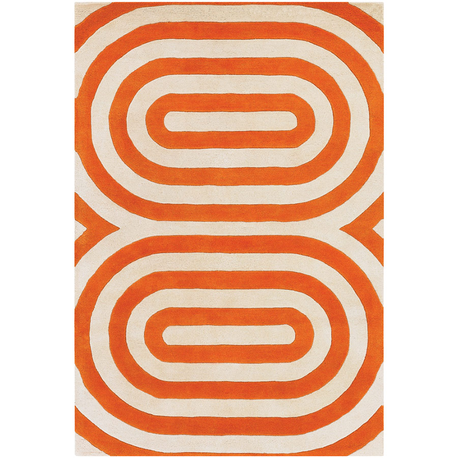 Geometric 3'x5' Rug in Orange