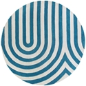 Geometric Round Rug in Blue