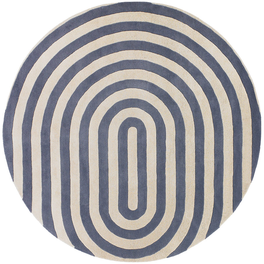 Geometric Round Rug In Grey