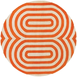 Geometric Round Rug in Orange