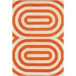 Geometric 8x10 Rug in Orange and Cream