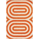 Geometric 8'x10' Rug in Orange and Cream