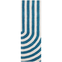 Geometric Runner Rug in Blue