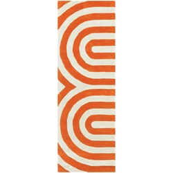 Geometric Runner Rug in Orange