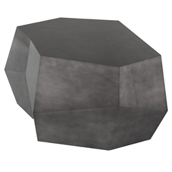 Gio Pewter Lacquered Geometric Contemporary Coffee Table by Nuevo