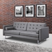 Giovanni Modern Gray Faux Leather Sofa Bed by Whiteline