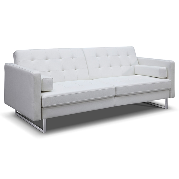 Giovanni Modern White Faux Leather Sofa Bed by Whiteline