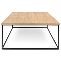 Gleam Oak Top + Black Metal Base Square Modern Coffee Table