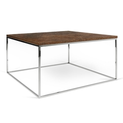 Gleam Rust Top + Chrome Base Square Modern Coffee Table