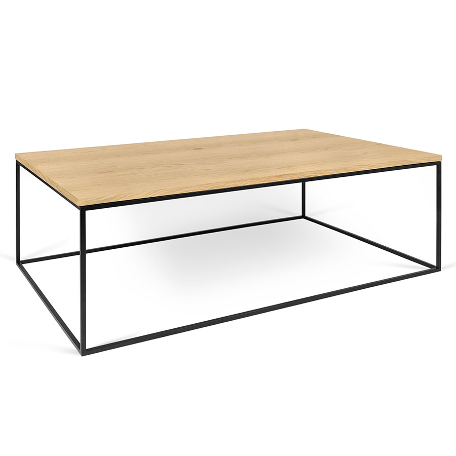 Gleam Oak Top + Black Metal Base Modern Rectangular Coffee Table
