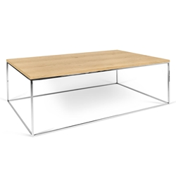 Gleam Oak Top + Chrome Base Modern Rectangular Coffee Table