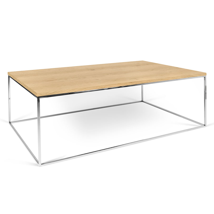 Gleam oak chrome long modern coffee table by temahome for Oak coffee table