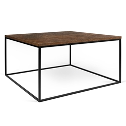 Gleam Rust Top + Black Base Square Modern Coffee Table