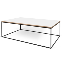Gleam White / Ply Top + Black Base Modern Rectangular Coffee Table