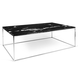 Gleam Black Marble Top + Chromed Metal Base Modern Coffee Table