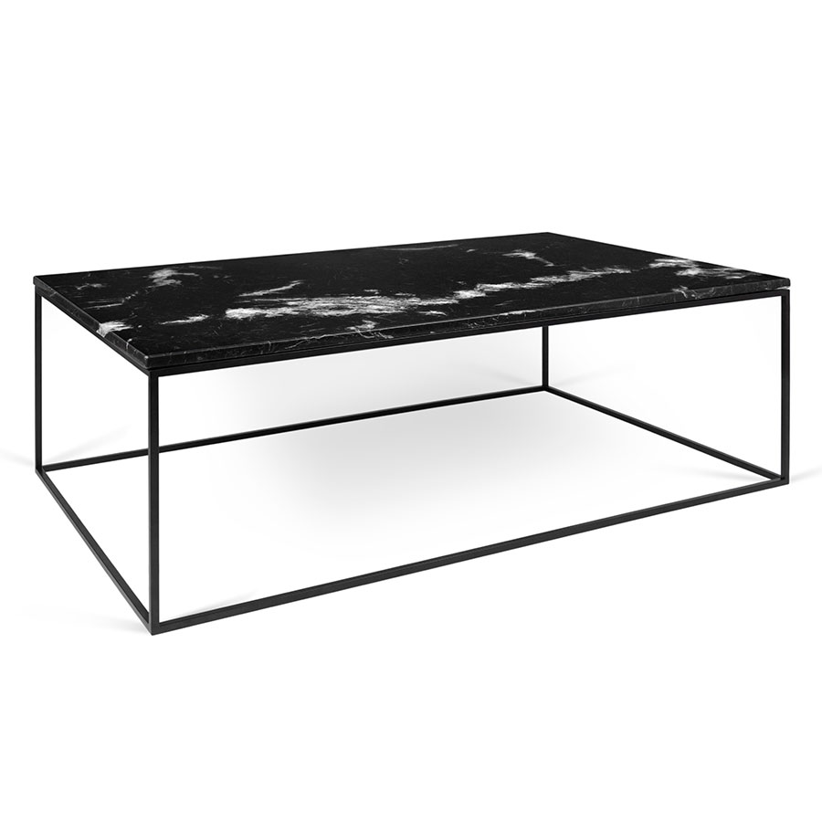 Temahome Gleam Long Black Marble Modern Coffee Table Eurway