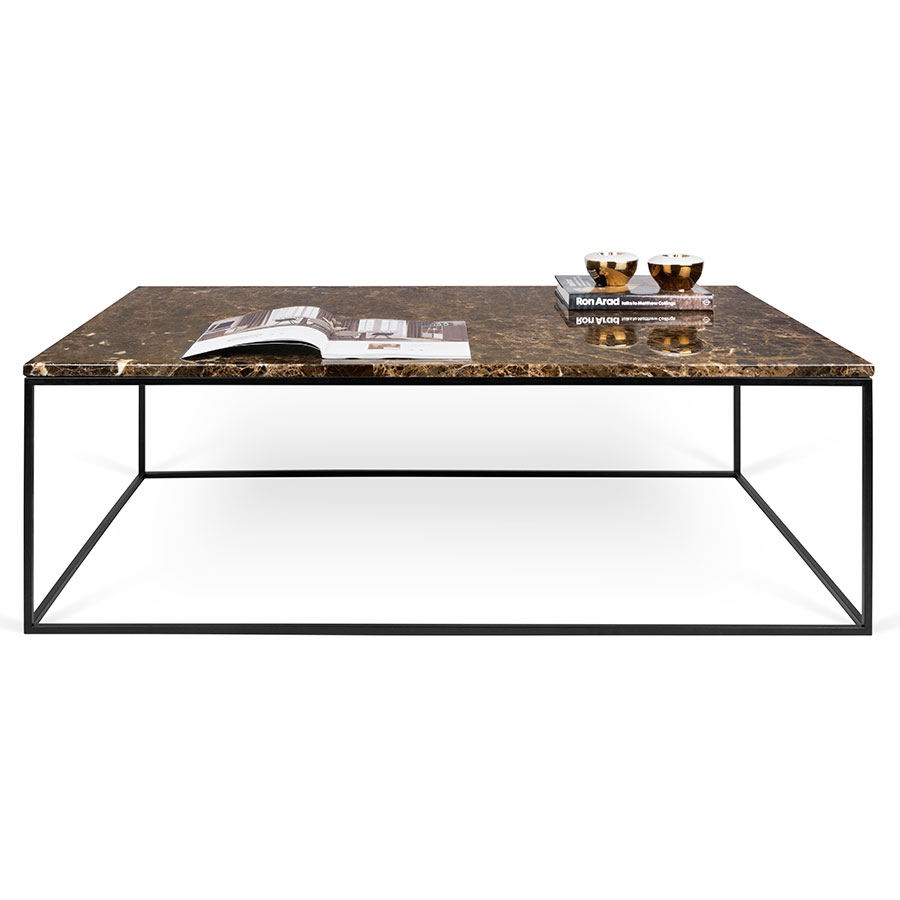 gleam brown marble + chrome long modern coffee table