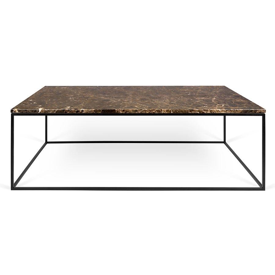 Gleam Brown Marble Top Black Metal Base Rectangular Contemporary Coffee Table