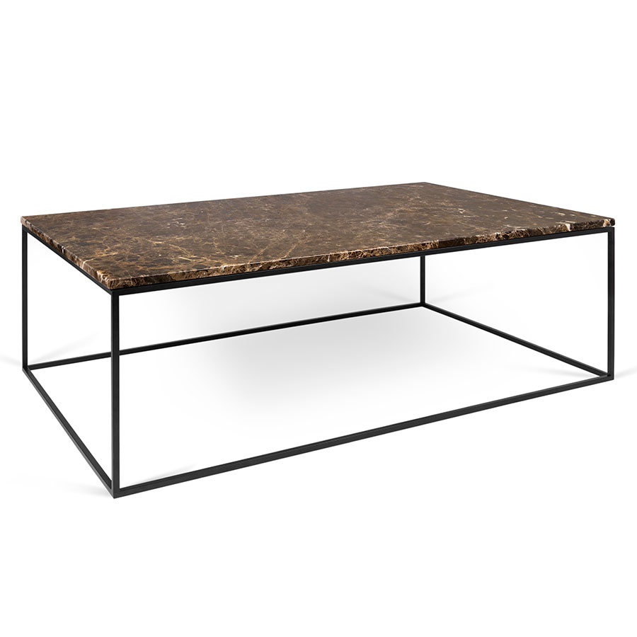 Ordinaire Gleam Brown Marble Top + Black Metal Base Rectangular Modern Coffee Table