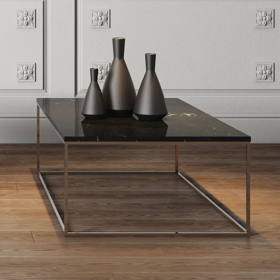 ... Gleam Brown Marble Top + Chrome Metal Base Rectangular Contemporary  Coffee Table Room Shot